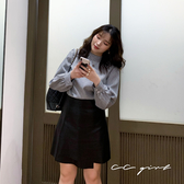 中大尺碼  黑格紋長袖上衣- 適XL~4L《 79141 》CC-GIRL
