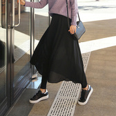 【K1720】莫代爾假兩件雪紡褲裙 長裙 舞蹈(2色可選/M-XL)