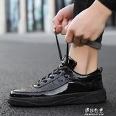 皮鞋男漆皮亮面社會小夥廚房工作廚師鞋發型師休閒防水冬季勞保鞋 伊莎gz