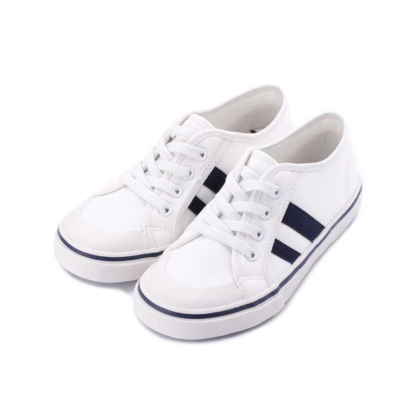 OYEAH 套式假綁帶帆布鞋 白 中大童鞋 鞋全家福