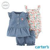 Carter's台灣總代理 小花牛仔3件組套裝