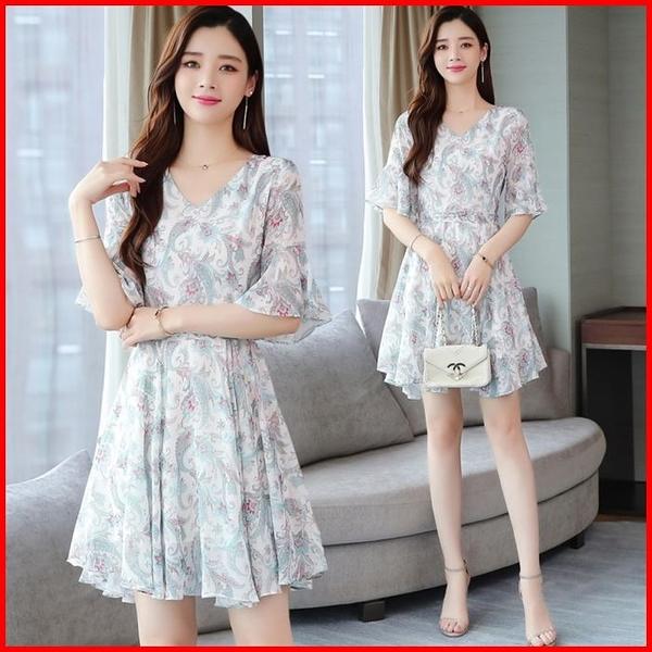 韓國風短袖洋裝 雪紡連衣裙收腰顯瘦氣質流行法式復古連身裙 依多多