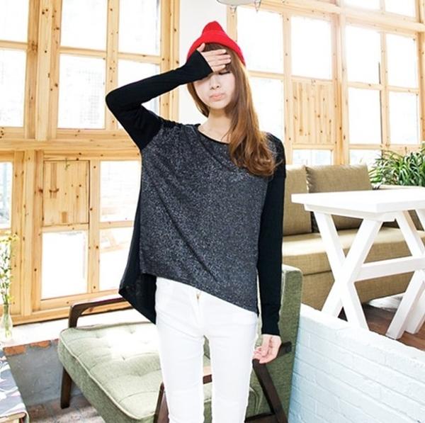 卡樂store...女裝專櫃黑色彈力顯瘦長袖棉質T恤   #gmx333