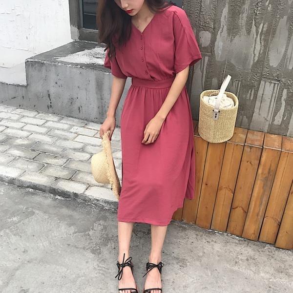 [超豐國際]夏裝女裝寬松復古短袖棉麻氣質裙子百搭中長款高腰顯1入