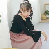 韓版百搭喇叭袖黑色上衣女秋秋裝新款長袖內搭打底衫白色T恤     韓小姐