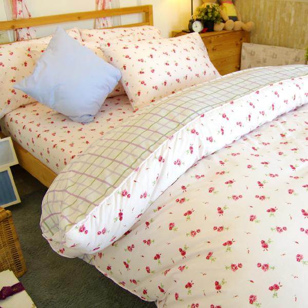 加大床包+兩用被4件組 / 100%精梳純棉【粉玫瑰】大鐘印染、台灣製造