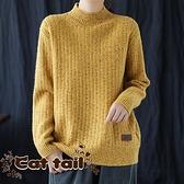《貓尾巴》DY-01212 復古休閒包芯紗半高領鉤花針織毛衣(森林系 日系 棉麻 文青 清新)