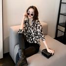 (下殺)輕熟豹紋襯衫女寬鬆休閒襯設計款雪紡衫港味上衣【08SG05154】