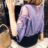 針織上衣 蝙蝠袖亮片罩衫薄款紫色鏤空圓領冰絲針織上衣 巴黎春天