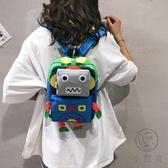 可愛機器人小背包卡通後背包小包包女包手提小書包【小酒窩服飾】