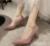 高跟鞋 高跟鞋2020新款夏季法式少女性感細跟網紅婚鞋銀色仙女風尖  【快速出貨】