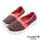 PLAYBOY 輕盈節奏 輕量針織布懶人鞋-桃