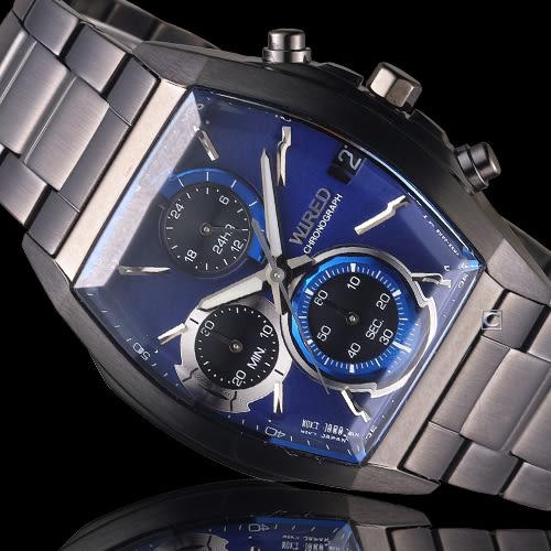 WIRED 日系潮流炫彩三眼計時酒桶型腕錶 VR33-0AB0B 藍 AY8013X1