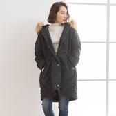 東京著衣-夢展望-排釦拉鍊連帽防風長版外套-M(4190075)