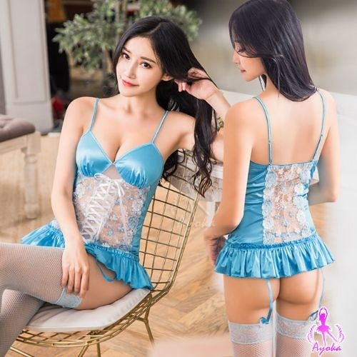 性感馬甲 藍色愛戀緹花刺繡馬甲吊襪帶四件組 樂樂