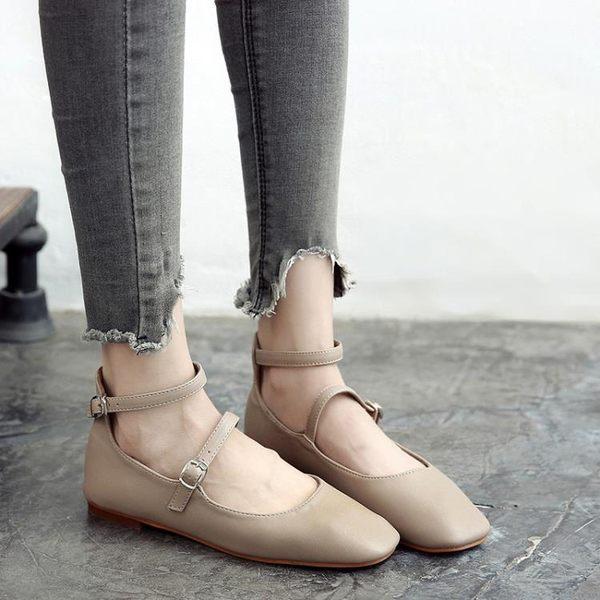 復古方頭休閒鞋 復古做舊芭蕾舞平底鞋【多多鞋包店】z3431