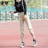 背帶褲女春新款韓版學生減齡高腰寬松森女系直筒牛仔褲女  汪喵百貨