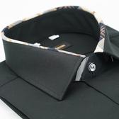 【金‧安德森】經典格紋繞領黑色吸排窄版長袖襯衫