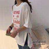 (交換禮物)T恤女韓國字母體恤原宿BF風學生寬鬆ins半袖上衣服