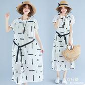 長裙 洋裝 大尺碼 女裝夏裝新款棉麻印花連衣裙微mm系帶收腰寬鬆減齡顯瘦