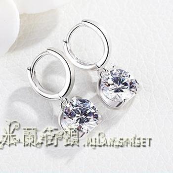 耳釘女士S925純銀耳飾品日韓版國氣質時尚個性水晶耳扣耳環防過敏?米蘭街頭
