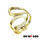 OH MY GOD藝術曲線銅鍍金手環