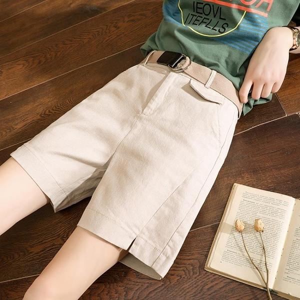 工裝五分褲女夏2021新款高腰爸爸褲寬鬆褲子闊腿外穿短褲女休閒褲 設計師