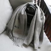 圍巾女冬季正韓百搭素色仿羊毛羊絨加厚保暖男士圍脖秋冬披肩灰色