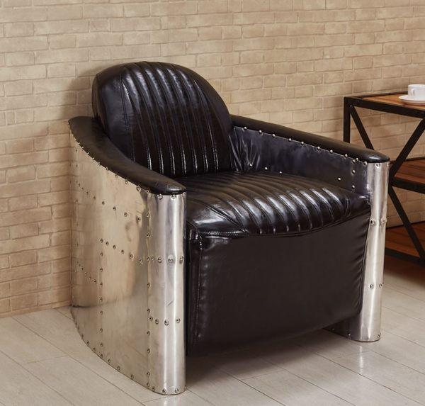 【森可家居】巴德鋁皮單人椅 7JF184-3