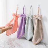 桃園百貨 珊瑚絨掛式擦手巾加厚抹布不掉毛洗碗布