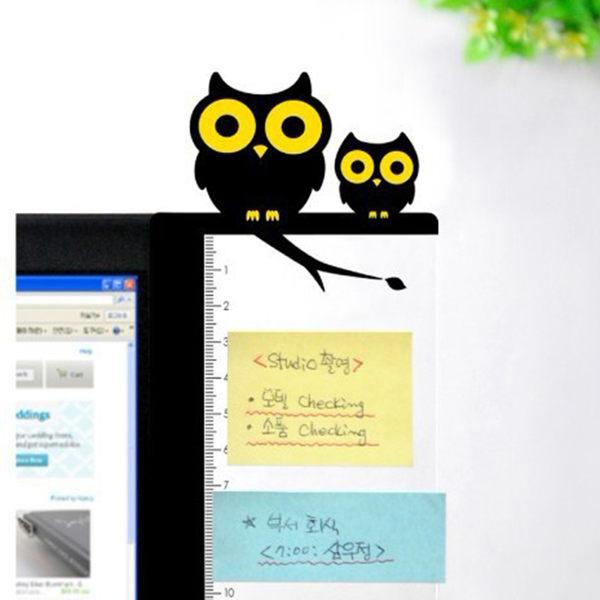 【00404】 韓款 電腦螢幕側邊留言板 創意文具 可愛卡通 螢幕便利貼 貓咪 貓頭鷹