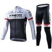 黑白環法自行車騎行服套裝長袖男夏季車隊山地車騎行褲上衣褲裝備
