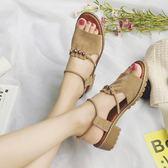 一字扣涼鞋女粗跟女鞋夏季新款韓版百搭學生中跟休閒羅馬鞋子