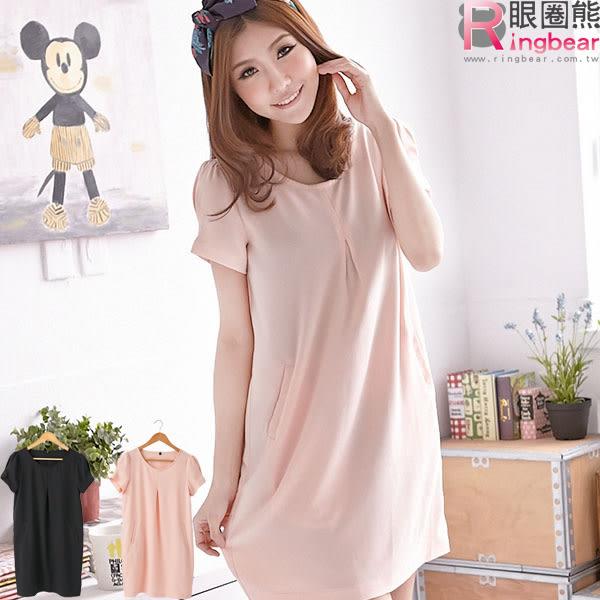 洋裝--優雅氛圍素面壓折造型紗質洋裝(黑.粉M-XL)-D225眼圈熊中大尺碼
