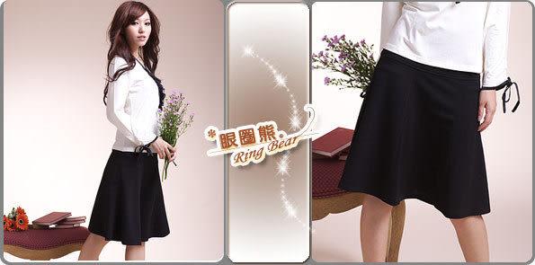 裙子--飄逸的優雅甜美-絕美韓版剪裁素面黑色八片式及膝裙(S-4L)-Q01眼圈熊中大尺碼◎