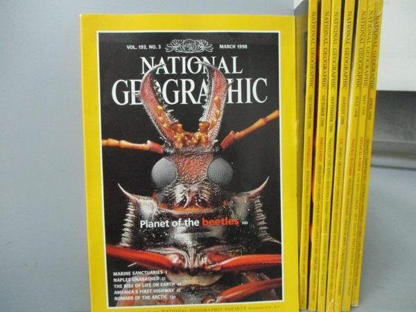 【書寶二手書T2/雜誌期刊_RHW】國家地理雜誌_1998/3~12月間_共8本合售_Beetles等_英文版