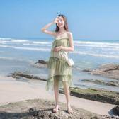 洋裝 連身裙 長洋裝2019夏季新款女裝法式復古裙山本過膝很仙網紗仙女性感吊帶連衣裙