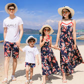 韓版拼色織帶花朵短袖套裝親子裝(男童)