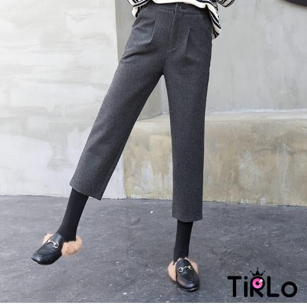 長褲 -Tirlo-推薦!寬管毛呢打褶九分褲-兩色/S-3XL(現+追加預計5-7工作天出貨)