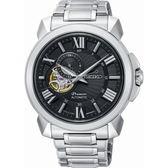 【台南 時代鐘錶 SEIKO】精工 Premier 典雅羅馬時標機械錶 SSA371J1@4R39-00S0D 黑 43mm
