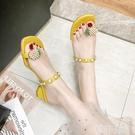 夾腳拖鞋 網紅仙女風夾腳套趾拖鞋女夏外穿ins潮新款一字涼拖高跟粗跟 韓菲兒