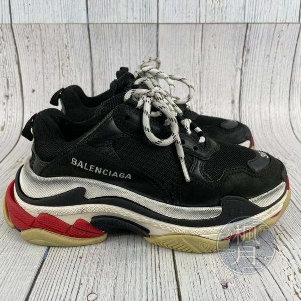 BRAND楓月 BALENCIAGA 巴黎世家 黑色 紅色鞋根 老爹鞋 平底鞋 厚底 復古 #36