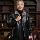 男士皮衣 冬季中老年男士皮衣秋冬爸爸皮夾克中年男裝外套皮毛一體加絨加厚 快速出貨