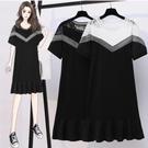 洋裝短袖裙圓領中大尺碼L-5XL大碼寬鬆蕾絲拼接鏤空魚尾連身裙4F005-9330.韓依紡