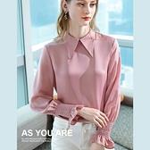雪紡衫絲滑緞面翻領褶皺喇叭袖上衣(三色S-3XL可選)/設計家 AL301810