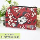 ☆小時候創意屋☆ 迪士尼 紅蝴蝶結米妮 頸掛包 手機包 卡片包 零錢包 證件包 收納包 悠遊卡包