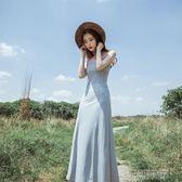 性感繫帶V領露背開叉吊帶裙禮服長裙大擺連身裙  創想數位