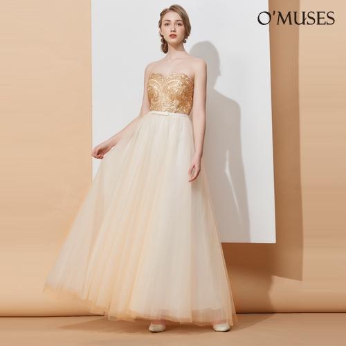 OMUSES 心型領金蔥刺繡網紗金色婚紗長禮服