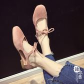 涼鞋女夏百搭淺口方頭中空交叉綁帶平底羅馬鞋【韓衣舍】