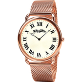 Folli Follie PERFECT 羅馬米蘭帶石英手錶-玫塊金/40mm WF16R014BPS-XX